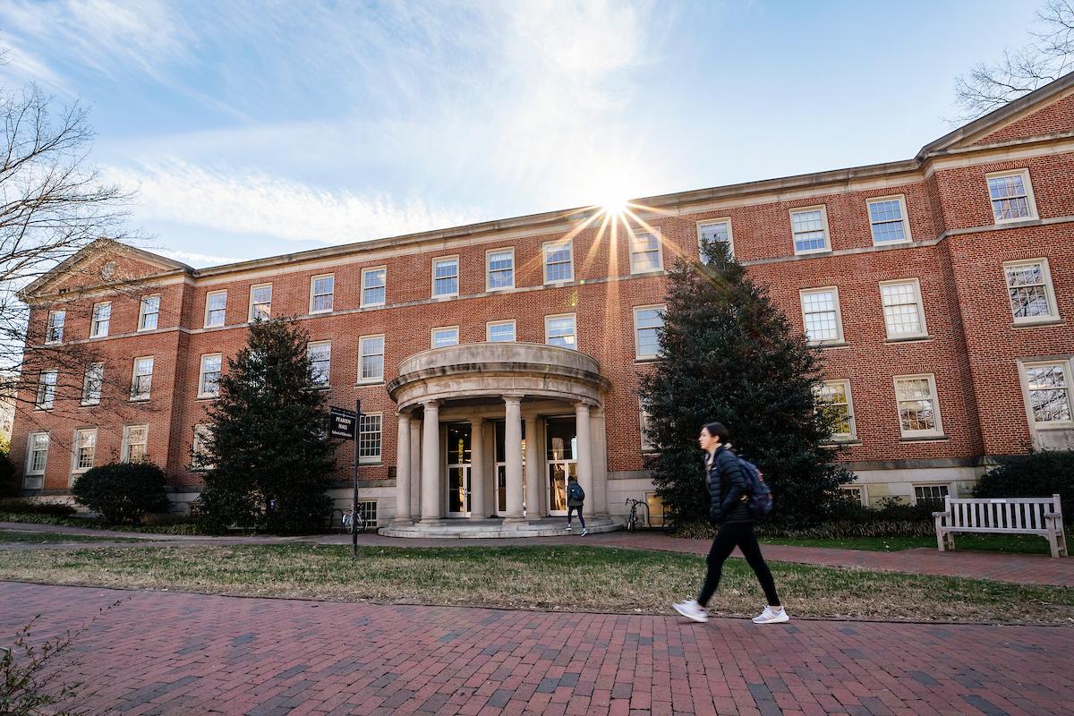 Student walking outside Peabody Hall
